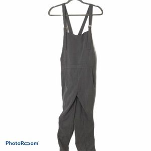 Zara pine striped overalls grey and white